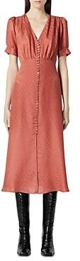 The Kooples Button Front Jacquard Midi Dress