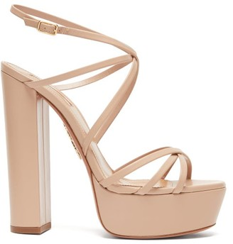 Aquazzura Gin Crossover-strap Leather Platform Sandals - Womens - Nude