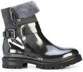 AGL fur trim buckle boots