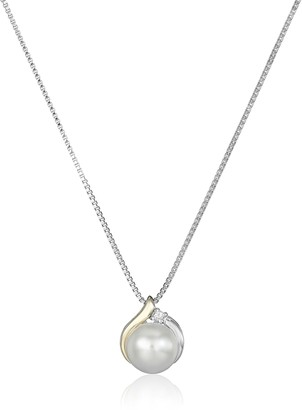 Amazon Collection Sterling Silver and 14k Yellow Gold Freshwater Cultured Pearl Diamond Accent Pendant Necklace (8mm) 18""