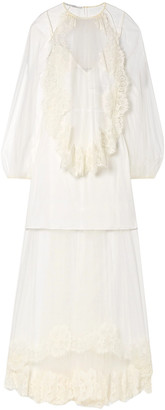 Stella McCartney Layered Lace-trimmed Tulle Gown