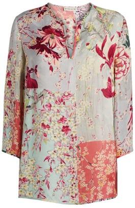 Etro Patchwork Floral Print V-Neck Top