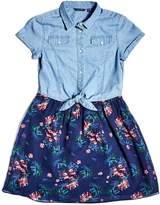 GUESS Short-Sleeve Chambray Two-Fer Dress (7-16)