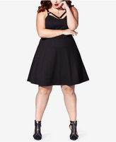 MBLM by Tess Holliday Trendy Plus Size Strappy Fit & Flare Dress