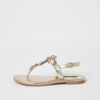 River Island Gold embellished toe thong sandal