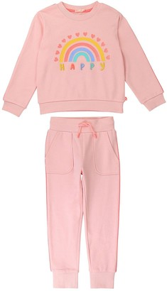 Billieblush Girls Rainbow Graphic Sweat Shirt & Jogger Set - Pink