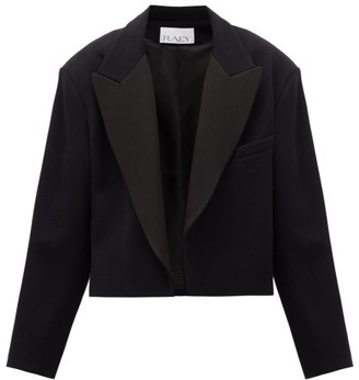 Raey Exaggerated-shoulder Cropped Wool-blend Tux Jacket - Womens - Navy