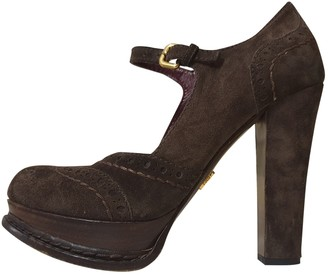 Prada Mary Jane Brown Suede Heels