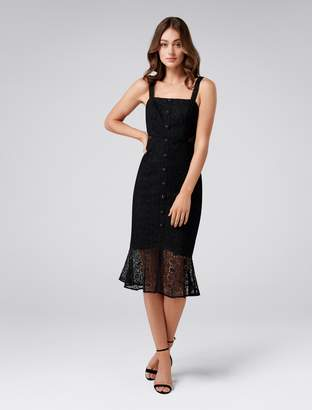 Forever New Sylvia Button-Up Lace Dress - Black - 4
