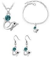Babao Jewelry Dolphin 18K Platinum Plated Swarovski Elements Cubic Zirconia Crystal Pendant Necklace Earrings Bracelet Set