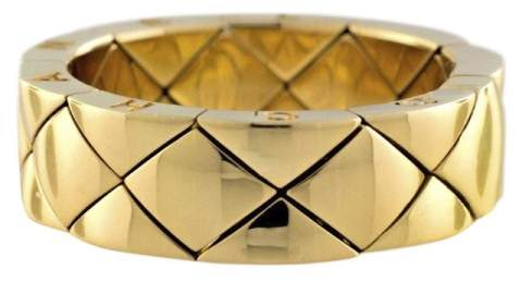 Chanel 18K Yellow Gold Matelasse Quilted Flexible Wide Band Ring Size 8.75