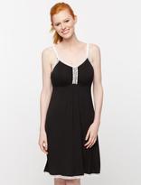 A Pea in the Pod Lace Trim Nursing Nightgown- Black
