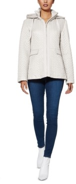 Kate Spade Hooded Chevron Quilted Jacket