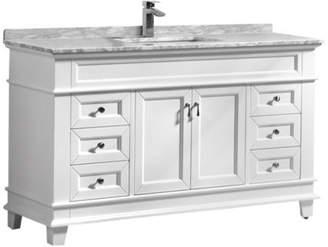 "Carrera Bathroom Vanity Wholesale Moreno Fayer 60"" White Freestanding Vanity w Marble Top, Sing"