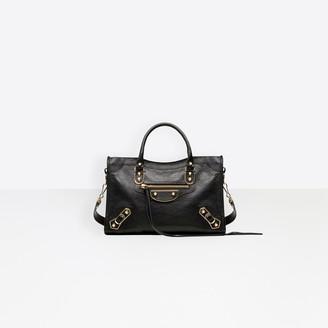 Balenciaga Small size shiny goatskin hand carry and shoulder bag with metallic edge hardware