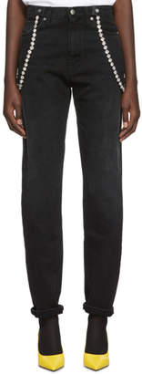 Christopher Kane Black High-Waisted Crystal Jeans