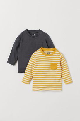 H&M 2-pack Jersey Tops - Yellow