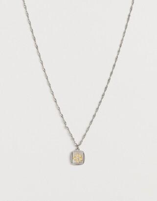 Asos Design DESIGN necklace with scales pendant in bi plate silver tone