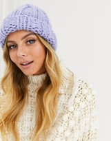 Asos Design DESIGN chunky knit beanie hat in lilac