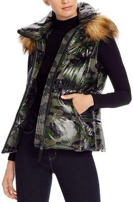 Aqua Faux Fur-Trim Hooded Camo Puffer Vest - 100% Exclusive
