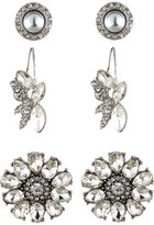 Lydell NYC Floral Crystal Earring Trio, Set of Three, Silver