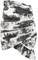 Alexandre Vauthier Ruched Floral-print Cotton Mini Skirt - Womens - Black White