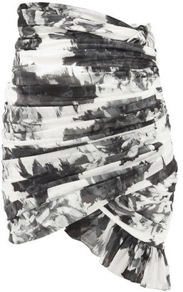 Alexandre Vauthier Ruched Floral-print Cotton Mini Skirt - Womens - Black White