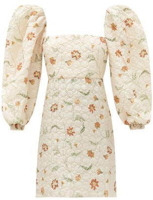 Johanna Ortiz Wayfaring Silk-blend Matelasse Mini Dress - Cream Multi