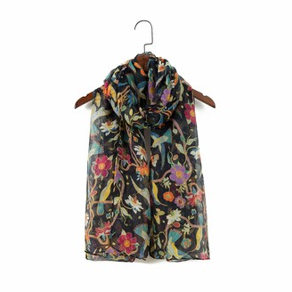 "London scarfs Women""s fashion Butterfly Print Long Scarves floral Neck Scarf Shawl (Black)"
