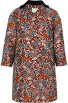 Mary Katrantzou Spence Velvet-trimmed Floral-jacquard Coat - Burgundy