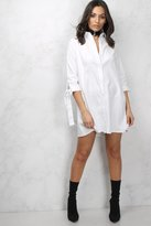 Rare White Tie Sleeve Shirt Dress