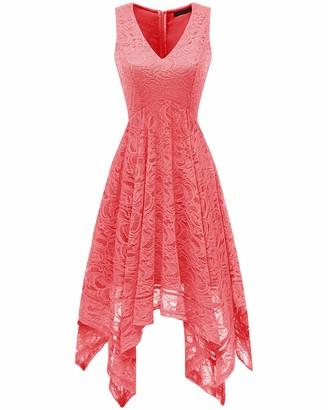 Bridesmay Women's V-Neck Sleeveless Asymmetrical Handkerchief Hanky Hem Lace Cocktail Dress Coral S