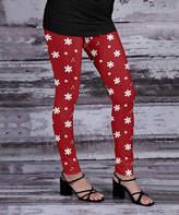 Beyond This Plane Women's Leggings RED - Red & White Floral Leggings - Women & Plus