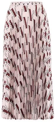 Valentino Printed pleated silk midi skirt