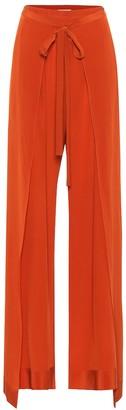 Chloã© Silk high-rise wide-leg pants