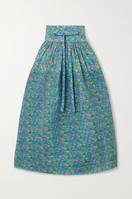 Horror Vacui Toga Pleated Floral-print Cotton Midi Skirt - Green