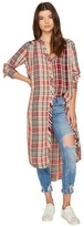 Free People Loralei Plaid Button Down Top Women's Short Sleeve Button Up