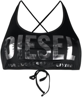Diesel Metallic Logo Bikini Top