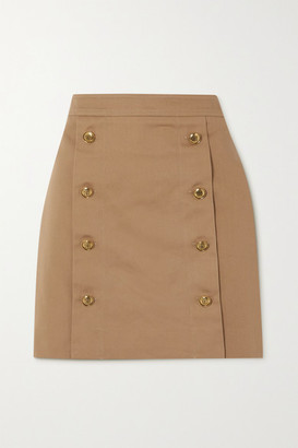 Givenchy Button-embellished Cotton-twill Mini Skirt - Beige