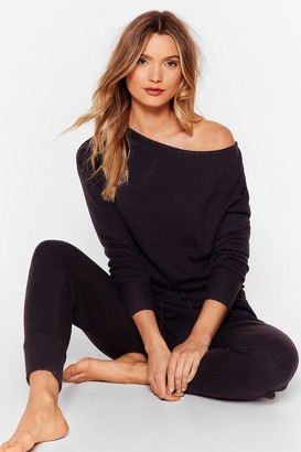 Nasty Gal Womens Weekend Loading Knit Jumper and Joggers Lounge Set - Black - S