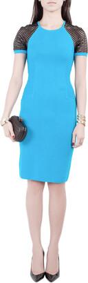 Yigal Azrouel Electric Blue Knit Diamond Colorblock Dress XS