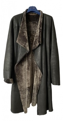 Porsche Design Black Mongolian Lamb Coat for Women