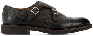 Doucal's Pebbled Double-Strap Monk Shoes