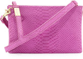 Foley + Corinna Cache Day Snake-Embossed Leather Crossbody Bag, Fuchsia