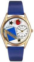 Whimsical Watches Women's C0640009 Classic Gold History Teacher Royal Blue Leather And Goldtone Watch