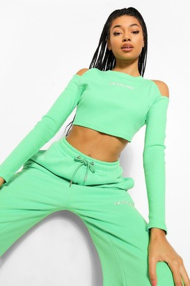 boohoo Slogan Rib Cut Out Crop Top