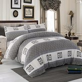 Simple Simple&Opulence Flannel Super Soft B Printing Duvet Cover Set (Queen)