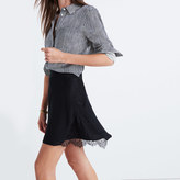 Madewell Silk Lowlight Lace-Inset Skirt