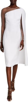 Jenny Packham Sequined Mesh-Shoulder Illusion Dress