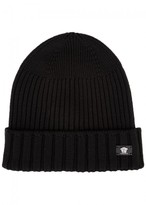 Versace Black Medusa Ribbed Wool Beanie